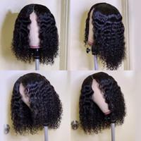 13x4 Glueless bouclés Lace Front perruques de cheveux humains 130% Densité court Bob Perruques brésilien Remy cheveux pour les femmes pré plumé