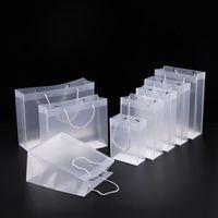 8 Boyutu Buzlu PVC plastik hediye çanta kolları ile su geçirmez şeffaf PVC çanta temizle çanta parti çanta özel logo LX1383 şekeri