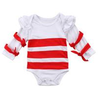 One Piece del bambino Neonata appena nata Autunno Breve Bianco Rosso a righe di cotone Papillon maniche lunghe pagliaccetto tuta Outfit Abbigliamento