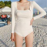Uzun Kollu Tek Parça Mayo Katı Mayo Kadınlar Push Up Monokini İki Adet Swim Suit Beyaz Trikini Kore Tarzı Mayo Mayo