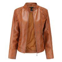 Quente Inverno Casacos Mulheres curto Brasão Leather Jackets Parka Zipper Tops Overcoat Outwear Jaqueta Chaqueta Mujer Casaco Feminino