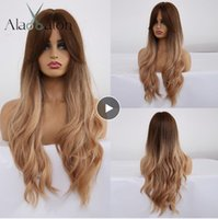 Ombre Wellenförmige Perücken Schwarz Braun Blond Mittelteil Cosplay synthetische Perücken mit Bangs für Frauen Langes Haar-Perücken-Fälschungs-Haar