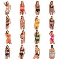 2020 Nova Mulher Bikin 14 cores sensuais impressão de alta Waisted de Split Swimsuit Bikin Europa e Estilo Hot American Lady Sexy Swimwear Livre Shiping