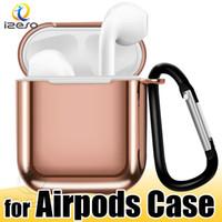 Гальванический ТП чехол для Airpods 1 2 Наушников для Apple, Airpod наушники случая протектора с крышкой Anti потерянного крюком брелок Luxury izeso