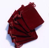 BURGUNDY 3 الأحجام المخملية والمجوهرات هدية الحقيبة هدية حزمة صالح لحقائب سوار قلادة القرط عيد الميلاد