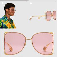 Lunettes de soleil de designer de luxe 0252 grand cadre rond en métal cadre creux de qualité supérieure lunettes de soleil décoratives de couleur claire populaires style