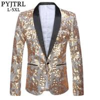 PYJTRL Tide Erkekler Gümüş Kadife Altın Pullarda Slim Fit Blazer Artı boyutu 5XL Düğün Damat MC DJ Singer Ceket Kostümler Tasarımları