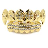 Hip Hop Grillz İçin Erkekler Kadınlar Sokak Modası Bling Zirkon Diş Braces Altın Gümüş Kaplama Bakır Vampir Dişleri Diş Izgaralar