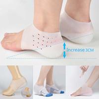 Unisex Invisible Altura Aumentar Meias Pads Pads Silicone Palmilhas para Massagem Pé Sólida Cor Sapato Mulheres Inserts Sapatos Materiais