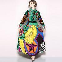 새로운 2019 디자이너 런웨이 드레스 롱 슬리브 드레스 여성의 차례 칼라 히트 컬러 로즈 플로랄 프린트 빈티지 롱 드레스
