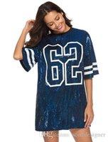 Paillettes Numero Stampa Donne Designer Designer Designer Designer Abiti Abiti Crew Neck Manica Corta Abbigliamento femminile Abbigliamento Fashion Hip Hop Style Abbigliamento casual
