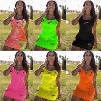 женщины летом Sexy рваного дизайнера платье без рукавов жилетов мини короткого платья партии способа Streetwear ночного клуб плюс размера женской одежды