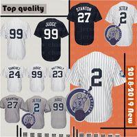 Uomo # 99 # 27 Giancarlo Stanton Baseball Jersey 23 Don Mattingly 51 Bernie Williams # 24 Ruth Mantle Stitched Jerseys