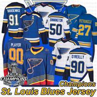 St. Louis Blues Hokey Formaları Vladimir Tarasenko Ryan 91 O'Reilly 50 Binnington Jake Allen Brayden Schenn Stanley Cup için