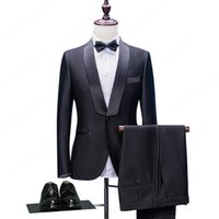HB058 Tailored One Button Smoking dello sposo nero Slim Fit Tailored Suit Scialle Lace Risvolto Abiti da sposa per uomo (Jacket + Pants + Bow)