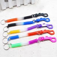 클립 스프링 코일 코드 테더 가동 가능한 도둑질 스트레치 탄성 끈 열쇠 고리 패션 키 체인 키 링 임의 색상