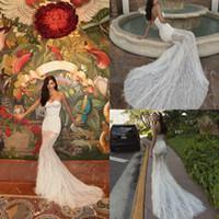2020 Meerjungfrau Brautkleider Schatz Appliced Feder Sleeveless Bridal Kleid Backless Rollled Sweep Zug Custom Made Vestidos de Novia