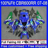 Kit de inyección para HONDA CBR 600RR 600F5 CBR 600 RR F5 07 08 283HM.12 CBR600F5 Movistar Azul caliente CBR600RR 07 08 CBR600 RR 2007 2008 Carenados
