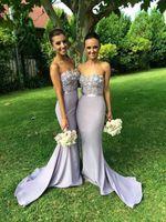 Elegante Lilac Long Sereia Dridesmaid Dress Sweetheart Appliques Frisado Própria de Honra Vestido Off Should Bridal Vestidos