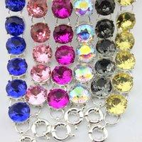 Klasik Gümüş Ton 15mm Roundell Faceted Cam Kristal Nokta Bilezik Kadınlar Için Parlak Renkler Rhinestones Bildirimi Bilezik Bilezik Takı