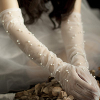 Noiva Luvas de pérolas casamento longos Projeto Gaze Lace transparentes Mulheres Luvas curtas de noiva luvas de malha Acessórios do casamento