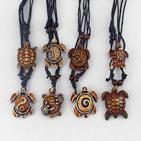 Dropshipping 8 SZTUK Mieszane Style Etniczne Tribal Faux Yak Bone Bone Turtle Wisiorki Naszyjnik Regulowany
