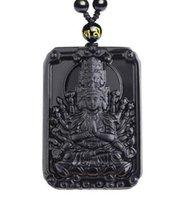 New black naturale ossidiana intagliata a mano mille mani cinese kwan-yin pendente amuleto fortunato + collana di perline Fine Jewelry