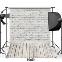 White Brick Wall Photography Backdrops Wooden Floor Backgrou...