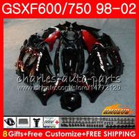 Cuerpo para Suzuki Katana GSXF 750 600 GSXF600 98 99 00 01 02 2HC.12 GSX750F GSX600F GSXF750 1998 1999 2000 2001 2002 Kit de carenización de llamas rojas