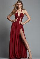 2019 Nuovo Zuhair Murad Primavera Summer Abiti da sera per le donne Design unico Rosso Hot Hot Slit Chiffon Plus Size Prom Dress