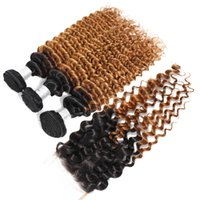 1B 27 Ombre Honey Blonde с закрытием Глубокая волна Weave человеческих волос 3 4 Связки с закрытием шнурка Бразильские волосы девственницы