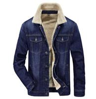 Giacca in jeans da uomo Colletto rovesciato di spessore caldo invernale Capispalla in pile di jeans maschili taglia M-4XL