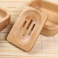 Sabão de bambu Natural Prato Recipiente Soap Tray rack de armazenamento suporte da placa de suporte de bambu Soap Tray Box para Lavatório Duche Placa