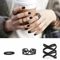 Unisex 3Pcs Set Punk Black Wavy Stacking Above Knuckle Midi ...