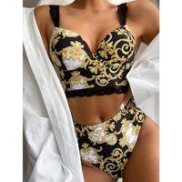 Conjunto de bikini retro mujeres traje de baño de la vendimia empuja hacia arriba el traje de baño del bikini de talle alto Impreso de los bañadores de playa del verano del desgaste del juego de natación