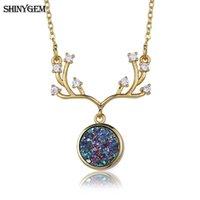 Chapado en oro collar colgante arco iris ShinyGem Druzy astas de los ciervos de la Piedra Natural El oro grande de los ciervos de la mano del amuleto para las mujeres