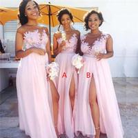 Bebek Pembe Boyun CHFFion Ucuz Uzun Gelinlik Modelleri Sheer Mesh Üst Dantel Aplike Bölünmüş Kat Uzunluk Düğün Misafir Misafir Hizmetçi Onur Elbise BM014