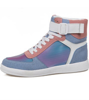 Pelle Donne bollate uomini Iridescent tessile Low Top Sneaker Designer Strap High Top Sneaker Boot
