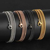 الجملة 18-32 بوصة فضة / وردة الذهب / الذهب / أسود 316L الفولاذ المقاوم للصدأ 1.5MM مربع سلسلة قلادة قلادة قلادة المجوهرات بالجملة للنساء / رجال