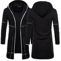 New solid Style Männer Strickjacke Warm Trench dünne Herbst-Winter-Mantel neue Art und Weise Lange Tasche Overcoat beiläufige feste Outwear Strickjacke