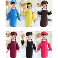 Kids Aprons Pocket Craft Cooking Baking Art Painting Kids Kitchen Dining Bib Children Aprons with hat and sleeves Kids Aprons RRA2083