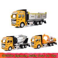 Combinazione 3PCS / Set Ingegneria Series Building giocattoli dell'automobile per i bambini in pressofusione Pull lega Veicolo per costruzioni Indietro Truck modello Home Decor