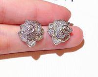 Moda Designer de Luxo Clássico Elegante Rose Flower Brincos para Mulheres Meninas Super Brilhante Zircão Diamante Cristal Sivler Post