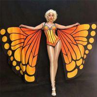 R45 Satge kelebek kanatları bellydance giyer balo salonu dans kostümleri elbise pelerin kutup dansçı bodysuit dj kıyafetler giysi tulum rave müzik