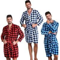 7 colores unisex flojos Buffalo Plaid albornoces franela a cuadros vestido largo de la manga del camisón de invierno caliente Batas Casa Ropa CCA11650 10pcs