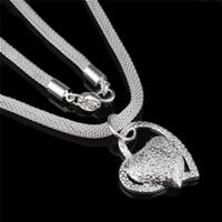 Silber Farbe Edelstahl Herz Halskette Anhänger Für Frau Modeschmuck Doppel Herz Splitter Farbe Halskette