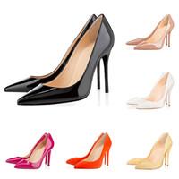 Mode luxe designer femmes chaussures bas rouges talons hauts donc kate 10cm Nude noir en cuir rouge pointu Toes Pumps chaussures de ville