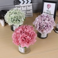 5 Heads Artificial Peony Bouquet Silk Flowers Fake Leaves DIY Bridal Bouquet Artificial Flowers For Wedding Home Decoration