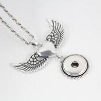 Halsketten Anhänger für Sublimation Engelsflügel Halsketten Anhänger Frauen Button Schmuck Heißtransfer DIY Verbrauchbare Großhandel