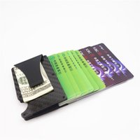 Fashion Design Short Style Wallets Metal Mini Carbon Fiber Men Business Card Case Wallet